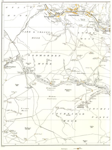 YORKS.Inchfield Moor,Todmorden,Carr Craggs,Cornholme,Portsmouth 1935 old map