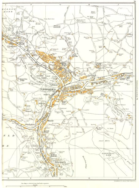 Associate Product TODMORDEN.Willow Bank,Walsden,Lydgate,Shade,Hollins Bottom,Gauxholme 1935 map