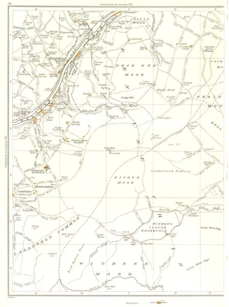 Associate Product YORKS.Eastwood,Withens Moor,Langfield Common,Stoodley Pike,Callis Wood 1935 map