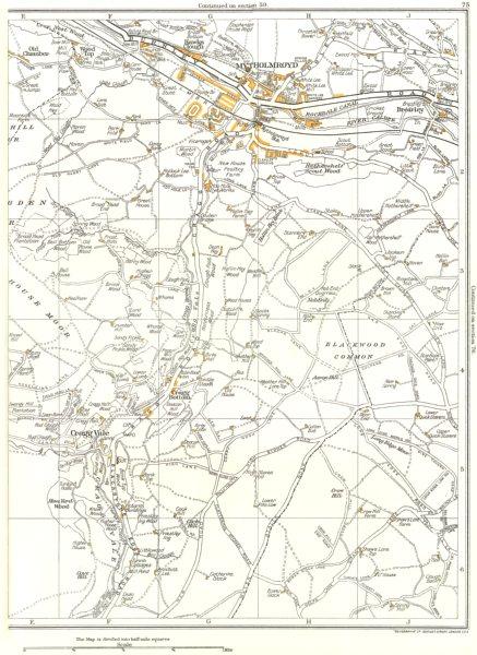 Associate Product YORKSHIRE.Blackwood,Crowhill,Hove Yard Wood,Cragg Vale,Mytholmroyd 1935 map