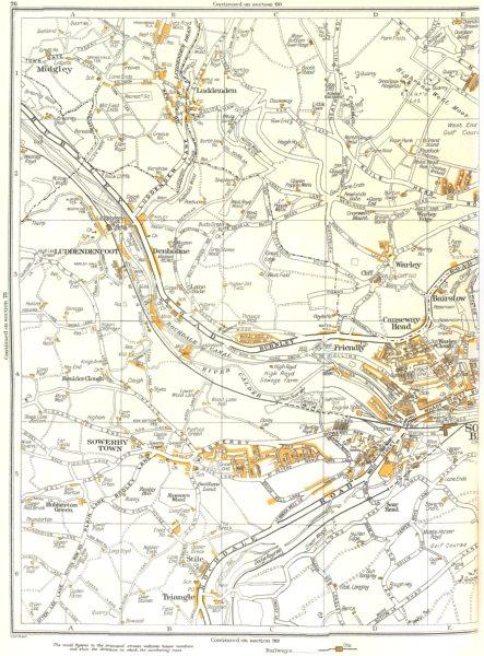 Associate Product HALIFAX SOWERBY BRIDGE.Luddenden,Friendly,Scar Head,Warley,Bairstow 1935 map