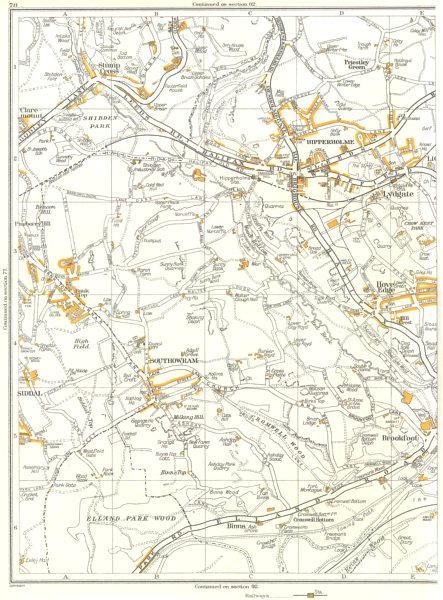 Associate Product YORKS.Brookfoot,Elland Park,Southowram,Hove Edge,Hipperholme,Lydgate 1935 map