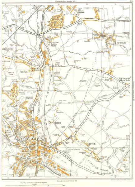 Associate Product BRIGHOUSE.Clifton,Scholes,Lower Park,Bailiff Bridge,Wyke 1935 old vintage map