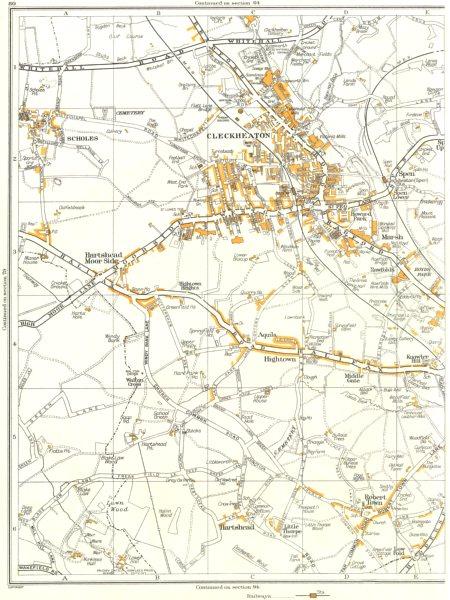 Associate Product CLECKHEATON.Hightown,Middle Gate,Robert town,Thorpe,Hartshead,Scholes 1935 map