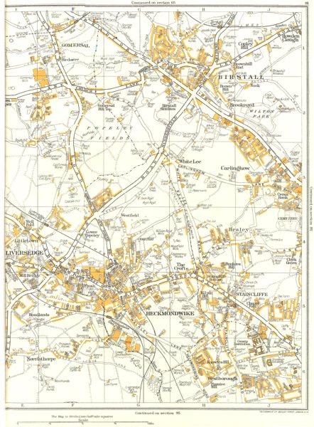 Associate Product YORKS.Birstall,Liversedge,Heckmondwike,Staincliffe,Gomersal,Carlinghow 1935 map