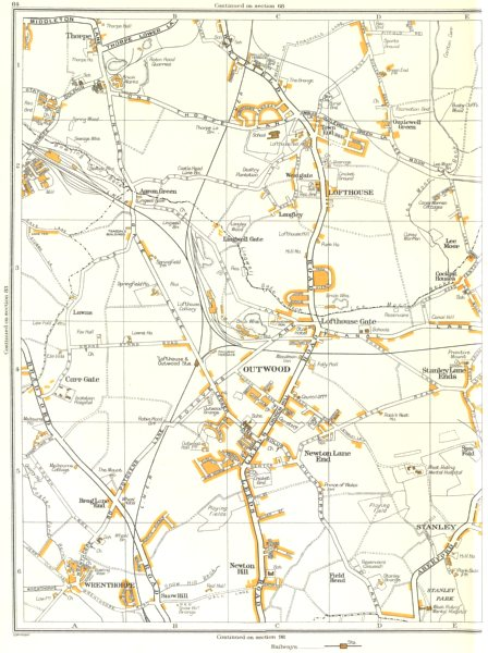 Associate Product YORKSHIRE.Stanley,Field Head,Outwood,Lofthouse,Snowhill,Wrenthorpe 1935 map