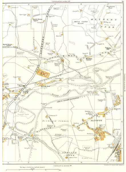Associate Product YORKS.Methley Hall,Altofts,Newland,Lee Mt,Lake Lock,Stanley 1935 old map