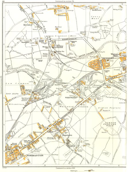 Associate Product CASTLEFORD.Normanton,Whitwood,Hopetown,Coney Moor,Mere,Methley 1935 old map