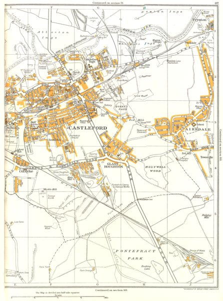 Associate Product CASTLEFORD.Pontefract Park,Glass Houghton,Townville,Cutsyke,Airedale 1935 map