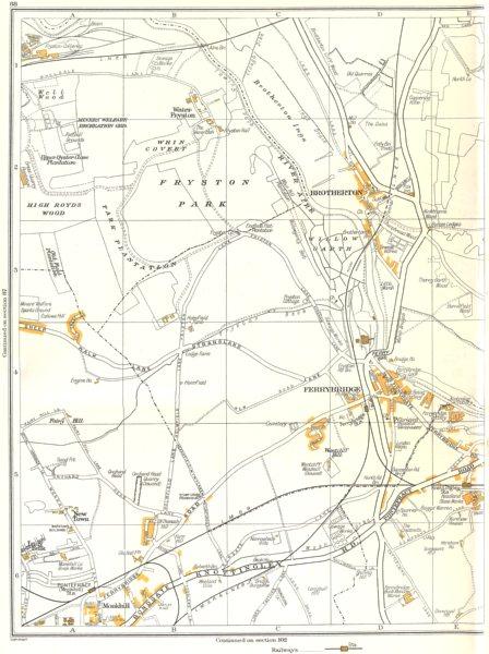 Associate Product YORKSHIRE.Fryston Park,Ferrybridge,New town,Monkhill,Brotherton,Water 1935 map