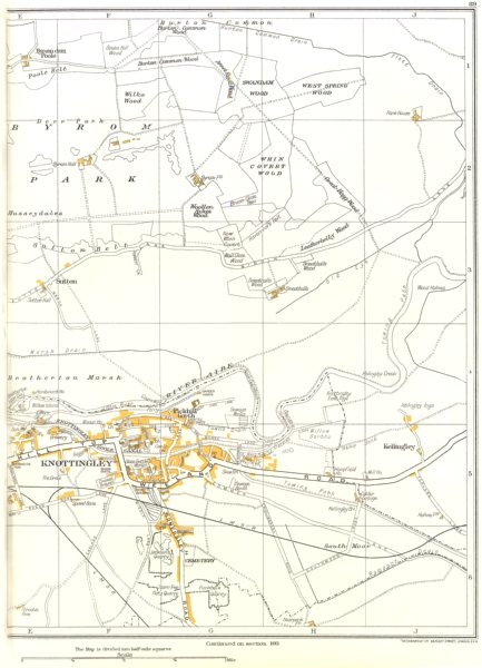 Associate Product KNOTTINGLEY.Sutton,Byrom Park,Kellingley,Pickhill Garth 1935 old vintage map