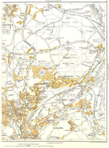 Associate Product HUDDERSFIELD.Bradley,Sheepridge,Rastrick,Fartown,Deighton,hillhouse 1935 map