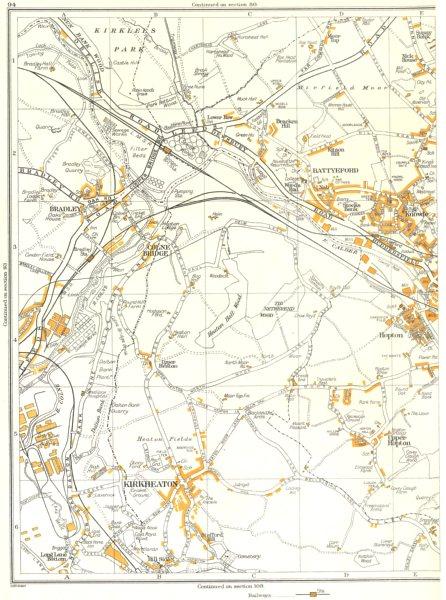 Associate Product YORKS.Mirfield,Knowle,Kirkheaton,Hopton,Battyeford,Colne Bridge 1935 old map