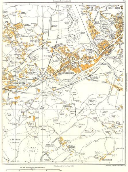 Associate Product YORKSHIRE.Mirfield,Whitley,Briestfield,Ravensthorpe,Northorpe,Dewsbury 1935 map