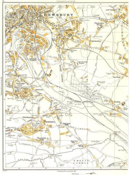 Associate Product DEWSBURY.Thornhill,Overthorpe,Savile Town,Gawthorpe,Earlsheaton 1935 old map