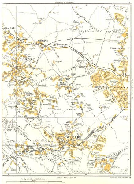 Associate Product WAKEFIELD.Horbury,Ossett,Flanshaw,Lupset Bar,Calder 1935 old vintage map chart