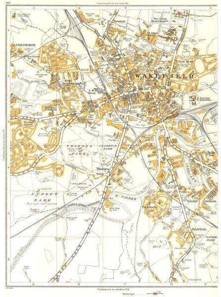 Associate Product WAKEFIELD.Alverthorpe,Sandal,Portobello,Thornes,New Scarborough,Newton 1935 map