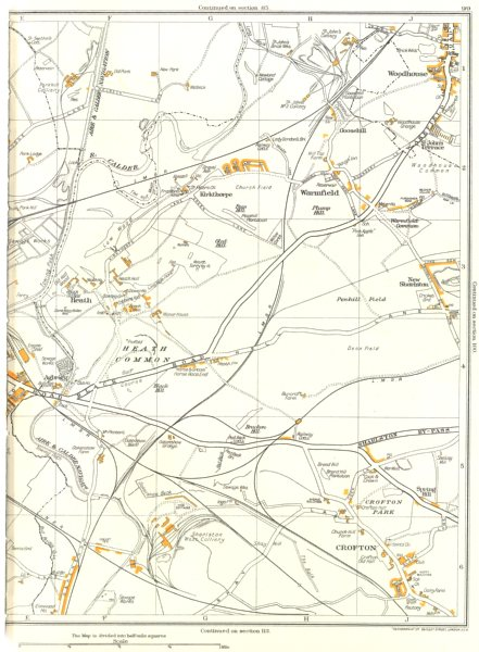 WAKEFIELD.Agbrigg,Heath Common,Crofton,Heath,Warmfield,Woodhouse 1935 old map