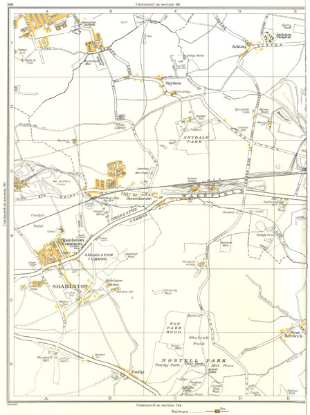 Associate Product YORKSHIRE.Sharlston,Nostell Park,Ackton,Foulby,Streethouse,Woodhouse 1935 map
