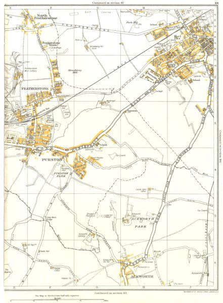 Associate Product PONTEFRACT.Purston,Ackworth,Featherstone,Fox Covert,King's Mead 1935 old map