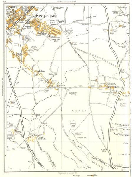 Associate Product PONTEFRACT.Carleton,East Hardwick,W Field,Darrington,Willow Park 1935 old map