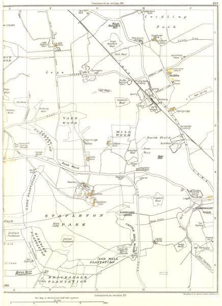 Associate Product YORKSHIRE.Mill Wood,Stapleton Park,Cridling,Sod Wall,Brockadale,Stubbs 1935 map