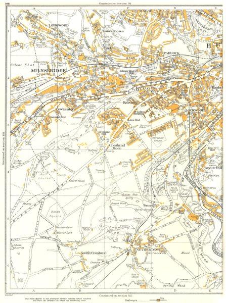 Associate Product HUDDERSFIELD.Milnsbridge,Longwood,Netherton,Paddock,Lockwood,Barton 1935 map