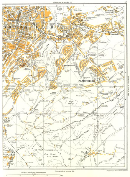 Associate Product HUDDERSFIELD.Almondbury,Farnley Tyas,Lowerhouses,Moldgreen,Hall Bower 1935 map