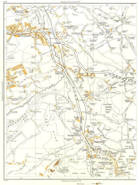 Associate Product YORKS.Highburton,Dean Bottom,Riley,Kirkburton,Lepton,Anchor,Greenside 1935 map