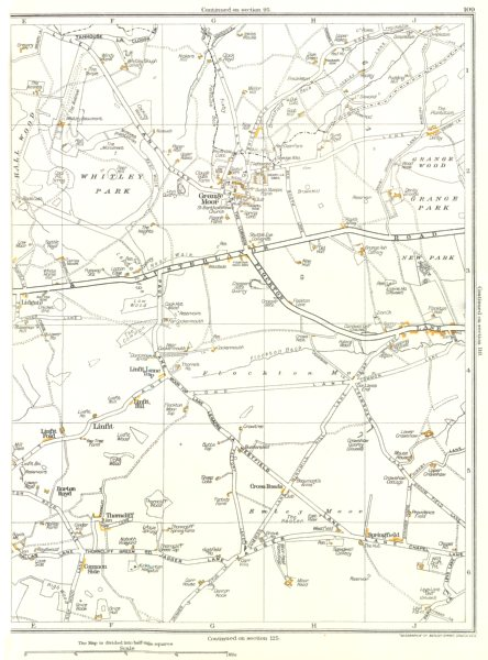 Associate Product YORKSHIRE.Linfit,Burton Royd,Thorncliff,Grange Moor,Whitley Park 1935 old map