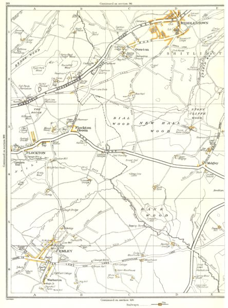 Associate Product YORKSHIRE.Flockton,Emley,Stony Cliffe Wood,Overton,Middlestown 1935 old map