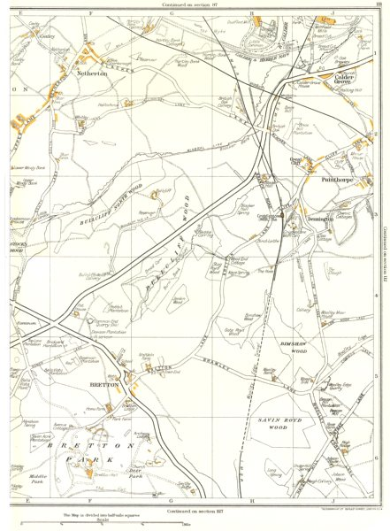 Associate Product YORKSHIRE.Bretton,Netherton,Painthorpe,Calder Grove,Crigglestone 1935 old map