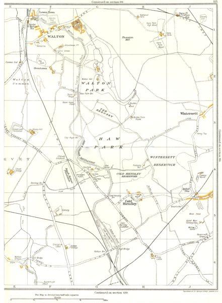 Associate Product YORKS.Walton Park,Haw Park,Wintersett,Cold Hiendley,Ryhill,Notton 1935 map