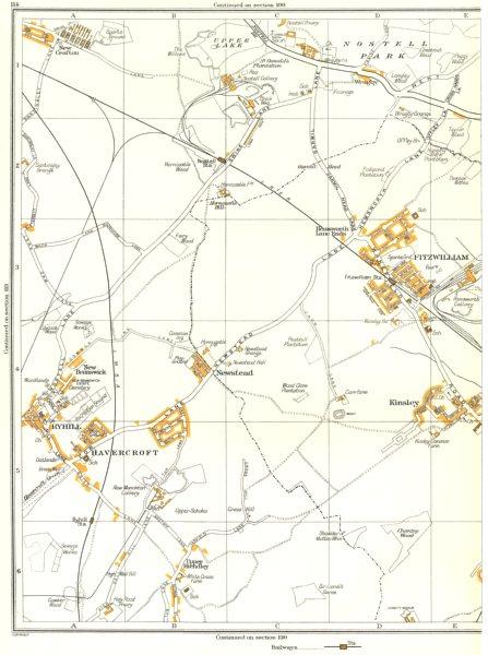 FITZWILLIAM.Kinsley,Upper Hiendley,Newstead,Upper Lake,Ryhill,Crofton 1935 map