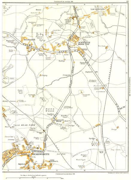 Associate Product YORKS.Hemsworth,Vale Head Park,Ackworth Moor Top,Brackenhill,Kinsley 1935 map