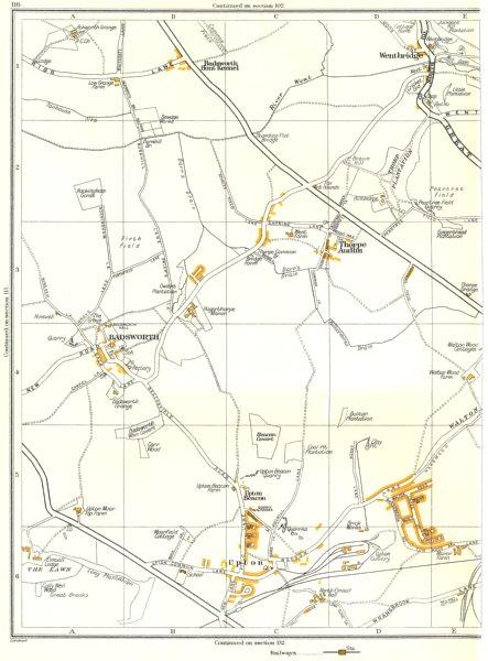 YORKS.Upton,Badsworth,Wentbridge,Beacon Covert,Carr Wood,Thorpe Audlin 1935 map