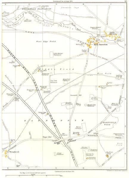 Associate Product YORKS.Barnsdale,Went Edge,Kirk Smeaton,Little Smeaton,Wrangbrook,Upton 1935 map