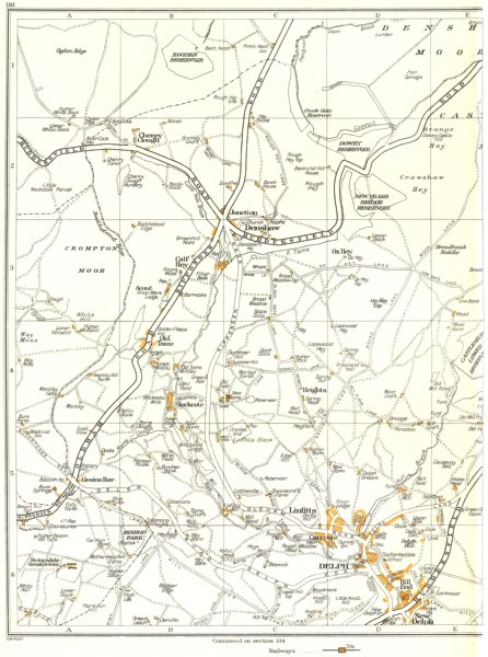 Associate Product YORKSHIRE.Delph,Denshaw,Linfitts,Old Tame,Hill End,Calf Hey,Shaw 1935 map