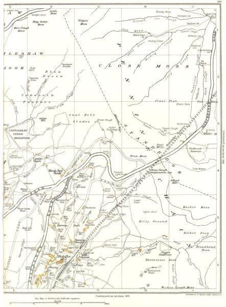 YORKSHIRE.Diggle,Harrop Dale,Castle Shaw,Standedge,Bleak Hey Nook 1935 old map