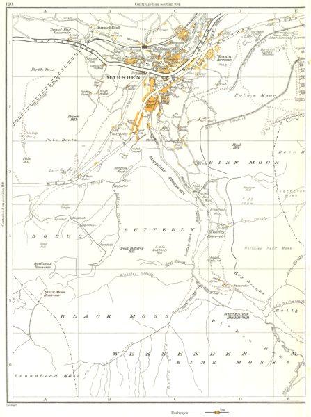 Associate Product MARSDEN.Butterfly,Black Moss,Bobus,Wessenden Moor,Binn Moor 1935 old map