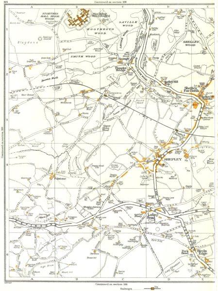 Associate Product SHEPLEY.Lane Head,Shelley,Smith,Boothroyd,Stockmoor,Kirkburton 1935 old map