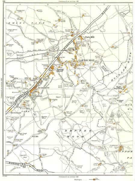 Associate Product CLAYTON WEST.Deffer Wood,Clayton West,Park Mill,Scissett,High Hoyland 1935 map