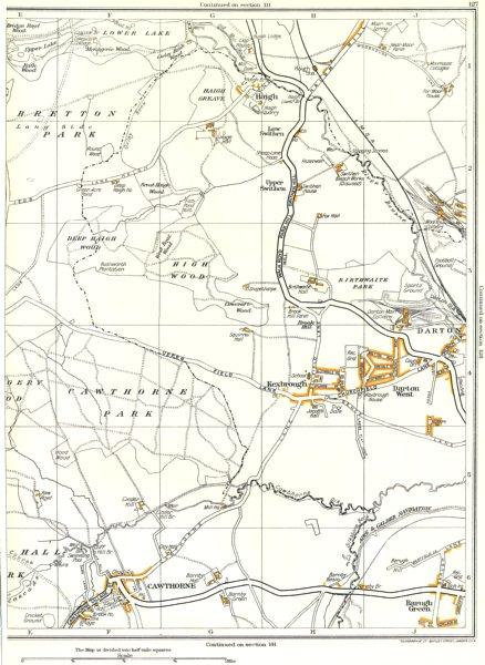 Associate Product KEXBROUGH.Cawthorne,Darton,High Wood,Barugh Green,Bretton 1935 old vintage map