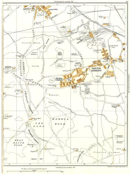 Associate Product SOUTH KIRKBY.Grimethorpe,Hemsworth,Moorthorpe,Howell Wood,Kirkby Cmn 1935 map