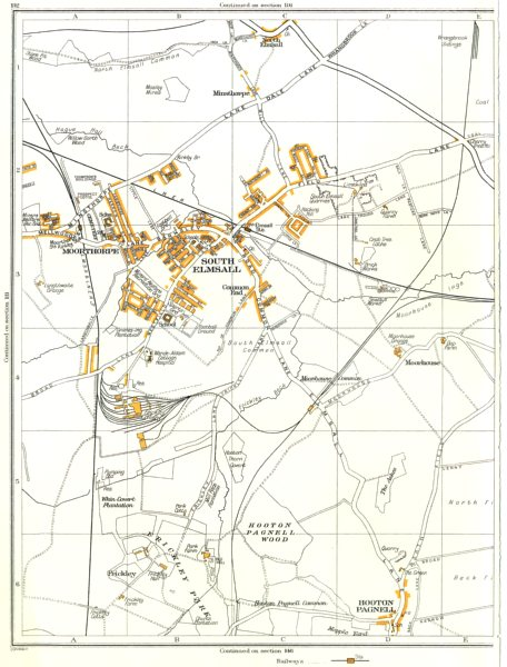 Associate Product SOUTH ELMSALL.Hooton Pagnell Wood,Frickley,Moorthorpe,Minsthorpe 1935 old map