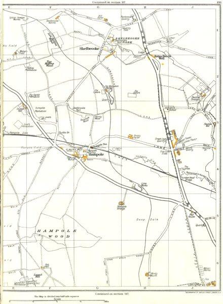 Associate Product YORKSHIRE.Hampole,Skelbrooke,Skellow,Adwick le Street,Robin Hoods Well 1935 map