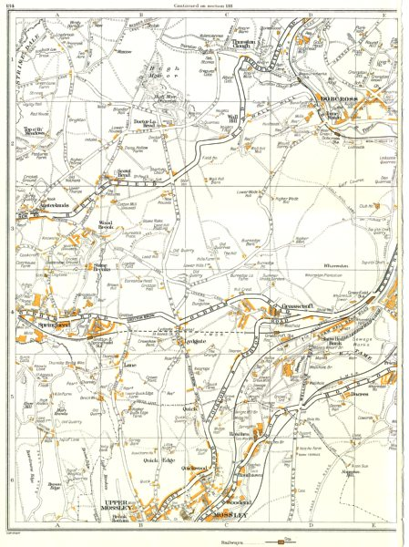 Associate Product OLDHAM.Uppermill Greenfield,Grasscroft,Springhead,Mossley,Saddleworth 1935 map