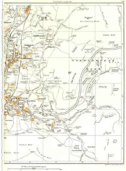 Associate Product YORKS.Saddleworth,Uppermill,Greenfield,Chew Hills,Tunstead,Dobcross 1935 map
