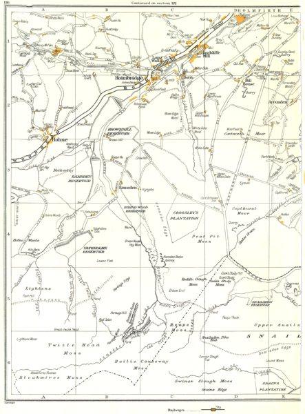 Associate Product YORKSHIRE.Holmbridge,Long Walls,Hinchliffe Mill,Holme,Dobb,Upperthong 1935 map