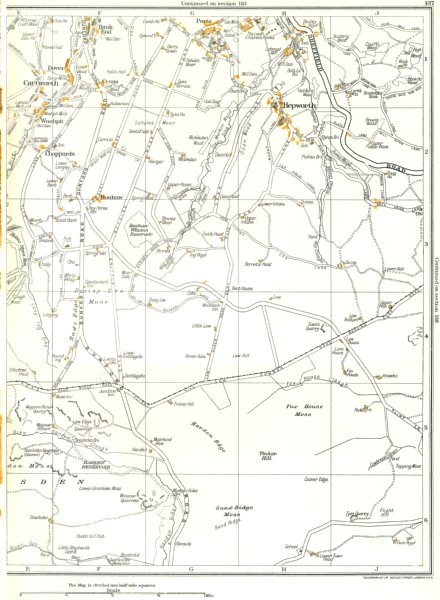 Associate Product YORKSHIRE.Cartworth,Hepworth,Hade Edge,Scholes,Washpit,Longley 1935 old map